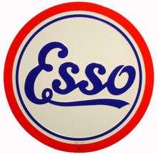 Esso Gasoline Round Metal Tin Sign