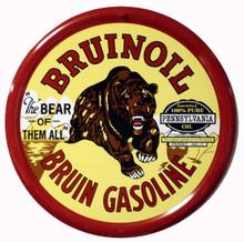 Bruinoil Gasoline Round Metal Tin Sign