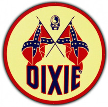 Dixie Gasoline Round Metal Tin Sign
