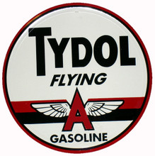 "Tydol ""Flying A"" Gasoline Round Metal Tin Sign"