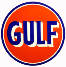 Gulf Oil Gasoline Round Metal Tin Sign