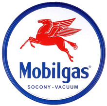 Mobilgas Gasoline Round Metal Tin Sign