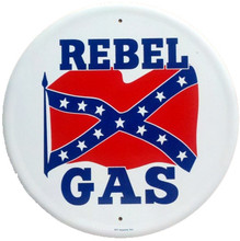 Rebel Gasoline Round Metal Tin Sign