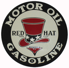 Red Hat Gasoline Round Metal Tin Sign