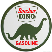 Sinclair Dino Gasoline Round Metal Tin Sign