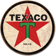 Texaco Star Gasoline Distressed Round Metal Tin Sign