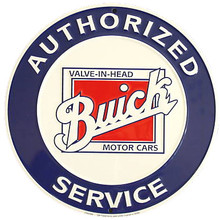Buick Authorized Service Classic Round Metal Tin Sign