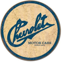 Chevrolet Classic Motor Cars Round Tin Sign