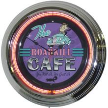 Road Kill Cafe Neon Clock