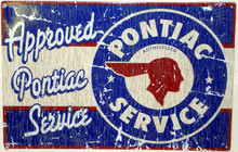 Pontiac Approved Service Distressed Look Tin Sign