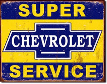 "Chevrolet Super Service ""Distressed Look"" Tin Sign"