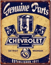 "Chevrolet Genuine Parts Classic ""Distressed Look"" Tin Sign"