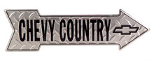 Chevy Country Diamond Plate Arrow Tin Sign