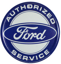 Ford Authorized Service White Face Round Tin Sign