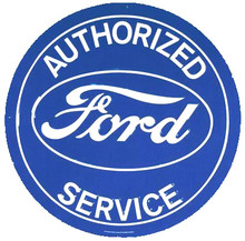 Ford Authorized Service Blue Face Round Tin Sign