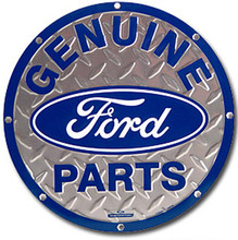 Ford Genuine Parts Diamond Plate Round Tin Sign