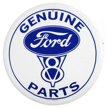 Ford V8 Genuine Parts White Face Round Tin Sign