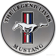 """Ford Mustang """"The Legend Lives"""" Round Tin Sign"""