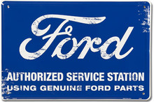 "Ford Authorized Service Station ""Distressed Look"" Tin Sign"