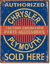 "Chrysler Plymouth Parts & Accessories ""Distressed Look"" Tin Sign"