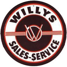 Willys Sales & Service Round Tin Sign