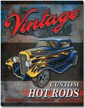 Vintage Custom Hot Rods Tin Sign