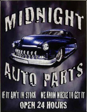 Midnight Auto Parts Tin Sign