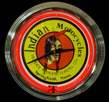 "Indian Motorcycle ""Classic Indian Head"" Neon Clock"