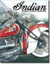 "Indian Motorcycle ""America's Pioneer"" Tin Sign"