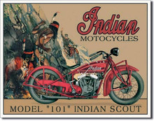 """Indian Motorcycle """"Model 101 Scout"""" Tin Sign"""