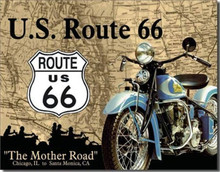 "Route 66 Motorcycles ""The Mother Road"" Tin Sign"