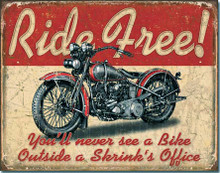 "Ride Free Motorcycles ""Distressed Look"" Tin Sign"