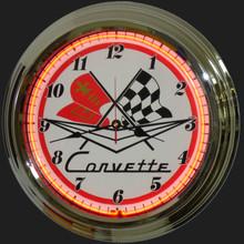 Corvette C1 Logo Neon Clock