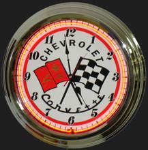 Corvette C3 Logo Neon Clock