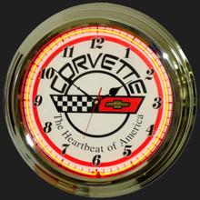 Corvette C4 Logo Neon Clock