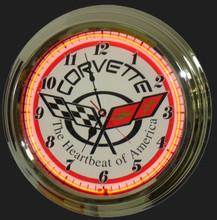 Corvette C5 Logo Neon Clock
