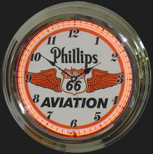 Phillips 66 Aviation Gasoline Neon Clock