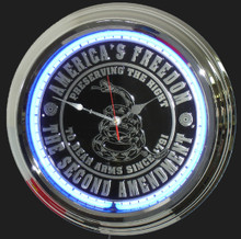 Second Amendment NRA Neon Clock