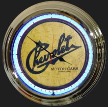Chevrolet Motor Cars Classic Neon Clock