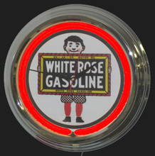 White Rose Gasoline Neon Clock