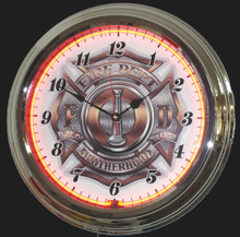 Fire Department Brotherhood Neon Clock