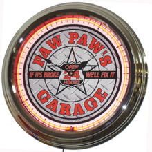Paw Paws Garage Neon Clock