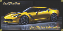 Justification For Higher Education Corvette Wall Banner