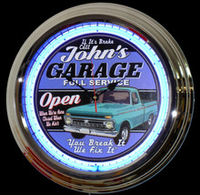 Personalized Garage Neon Clock Ford Fans