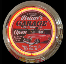 Personalized Garage Neon Clock GM Fans