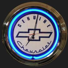 Genuine Chevrolet White Face Neon Clock