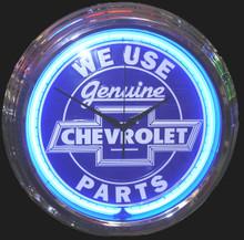 Genuine Chevrolet Parts Blue Face Neon Clock