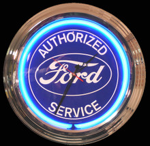 Ford Authorized Service Neon Clock
