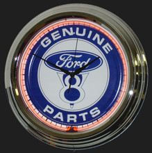 Ford V8 Genuine Parts Neon Clock