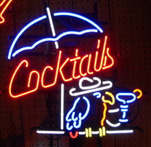 Cocktails With Parot Neon Sign